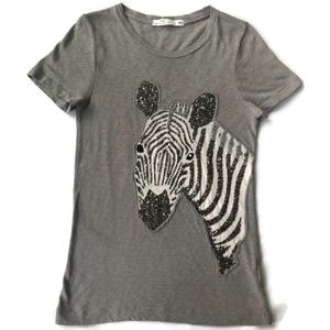 J Crew M Gray Beaded Appliqué Zebra Short Sleeve T